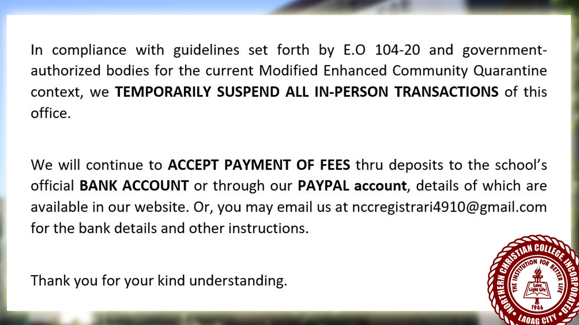 ANNOUNCEMENT ON ONLINE PAYMENT OF FEES