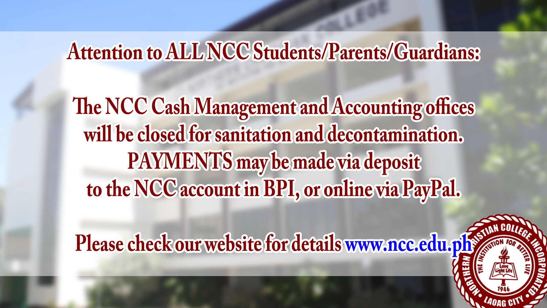 Attention to ALL NCC Students/Parents/Guardians: