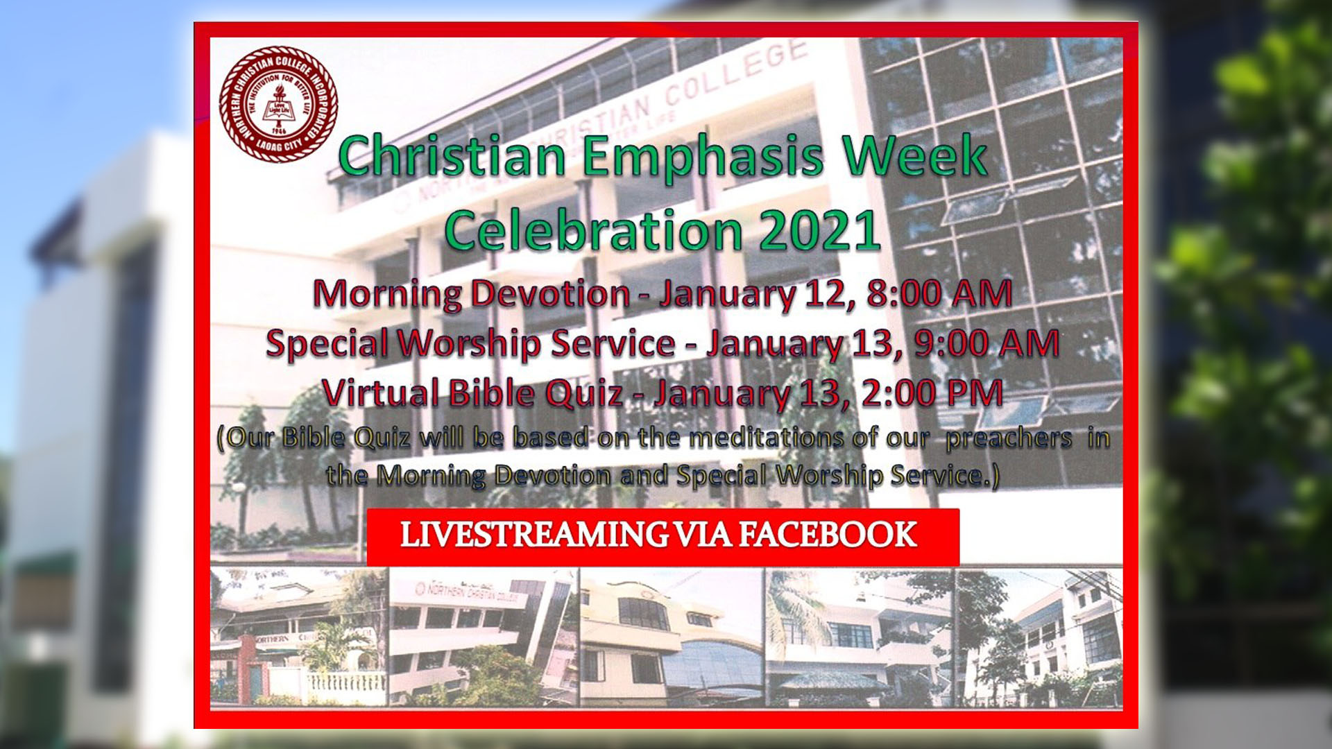 Christian Emphasis Week Celebration 2021