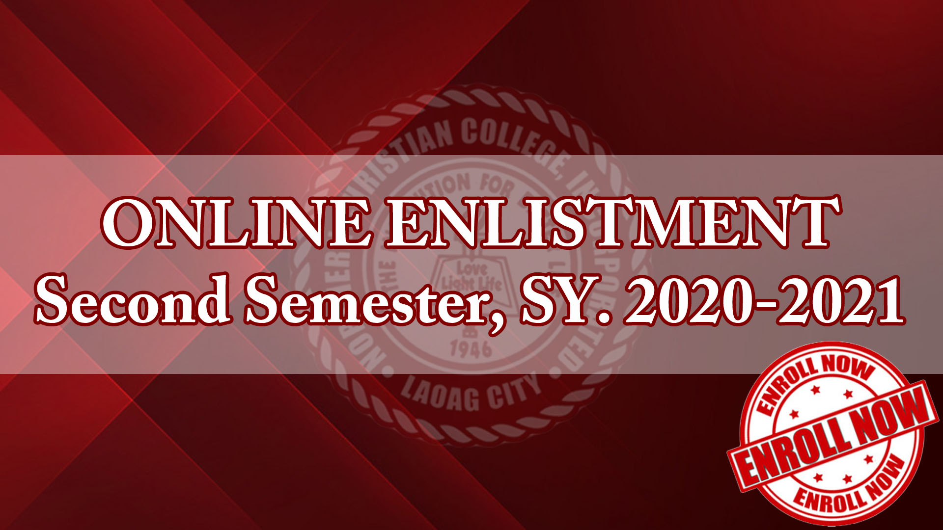 ONLINE ENLISTMENT Second Semester, SY. 2020-2021