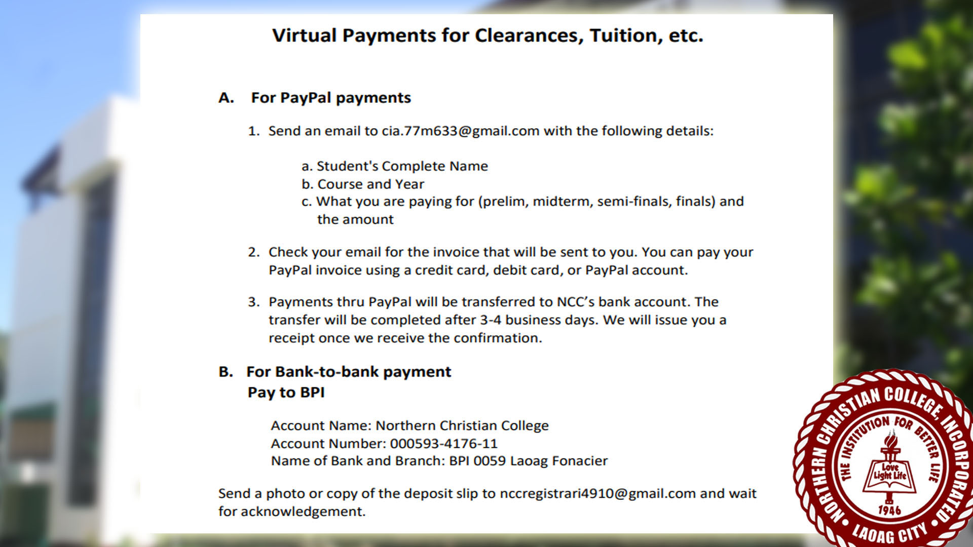 Virtual Payments for Clearances, Tuition, etc.